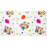 Nappe anniversaire festif, 132 x 220 cm, multicolore