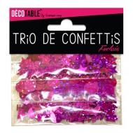 Trio de confettis, ronds, étoiles et coupes, fuchsia