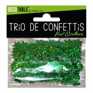 Trio de confettis, ronds, étoiles et coupes, vert excellence