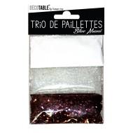 Trio de paillettes , 3 sachets de paillettes nuancées blanc