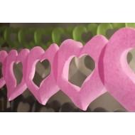 Guirlande papier, deux coeurs 4m en SC rose