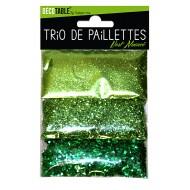 Trio de paillettes , 3 sachets de paillettes nuancées vert