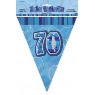 Bannière fanion bleu, 34 cm, 70 ans