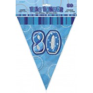 Bannière fanion bleu, 34 cm, 80 ans