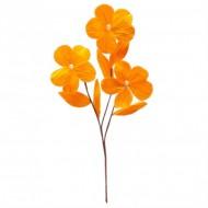 1 Branchage de 3 grandes fleurs perlées, L35 cm, LARG 10 cm, mandarine