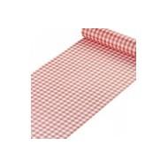 """Tischläufer aus Flachs """"Vichy"""", rot, 29 cm x 5 meter"""