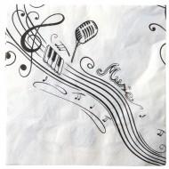10 Serviettes, musique, 33 x 33 cm, blanc