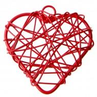 6 Metallisierte kleine Herze, 3 x 3 cm, rot