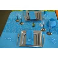 Idée décoration de table, bleu et gris