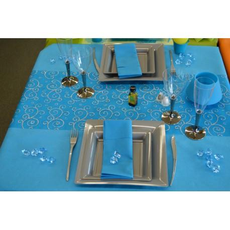 Tischdekorationidee Blau Und Grau Partytime