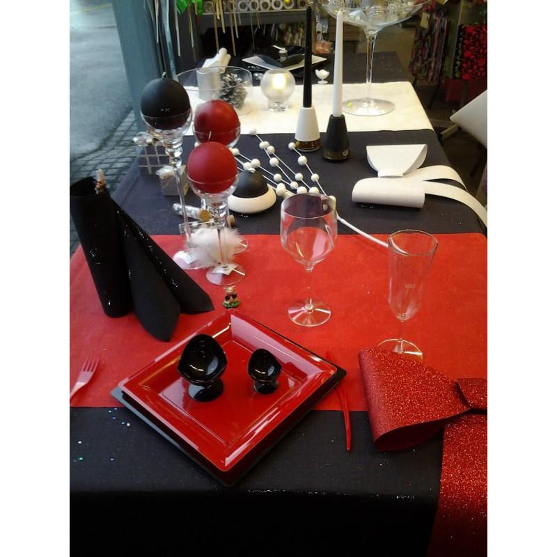 Tischdekorationidee Rot Et Schwarz Partytime