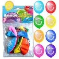 Sachet de 8 ballons joyeux anniversaire