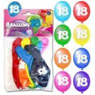 Sachet de 8 ballons 18 ans, ø 30 cm