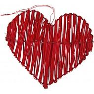 2 Coeurs en rotin, 11 x 8.5 cm, rouge