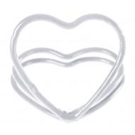 2 marques-place, coeur, métal, blanc, ø 3 cm