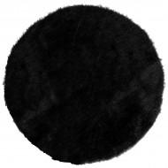 4 Sets de table en fourrure, ø 34 cm, polyester, noir