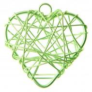 6 Metallisierte kleine Herze, 3 x 3 cm, grün