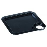 Tablett Coktail mit Glashalter, Gleitschutz, 20 x 20 cm, schwarz