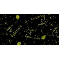 Nappe Joyeux anniversaire, paillettes, organdi, 145 x 250 cm, kiwi