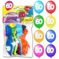 Sachet de 8 ballons 60 ans