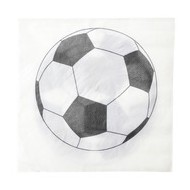 20 Serviettes motif foot blanc et noir, 33 x 33 cm
