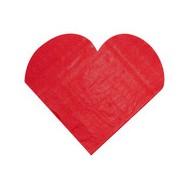 20 Serviettes cœur rouge, 19 x 17 cm / 31.7 x 31.7 cm