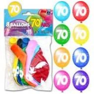 Sachet de 8 ballons 70 ans