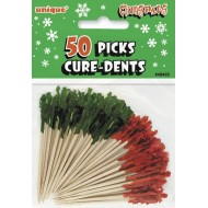 50 Cure-dents à bouts verts et rouges