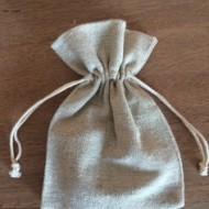 6 sachets naturel, en lin, avec ficelle,10x8cm