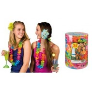 Box de 25 colliers hawaien polyester, multicolore