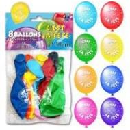 Sachet de 8 ballons c'est la fête, ø 30 cm