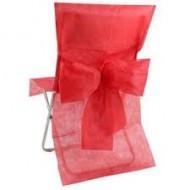 10 housses de chaises, avec noeud, rouge, 50cm x 95 cm