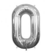 Ballon métal argent, 86cm, chiffre 0