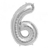 Ballon métal argent, 86cm, chiffre 6