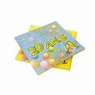 """Serviettes en papier anniversaire """"20 ans"""" 33x33cm"""