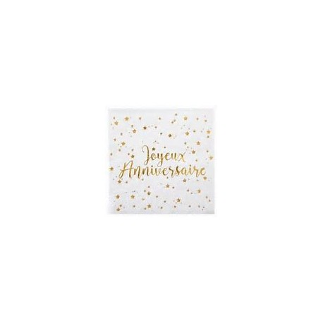 """Serviettes en papier """"Joyeux anniversaire"""" 12.5x12.5cm"""