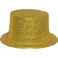 Chapeau haute forme, paillettes or