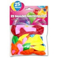 Sachet de 25 ballons couleurs assorties, ø 23 cm