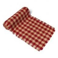 Chemin de table Jute Vichy, rouge et blanc, 29cm x 3m