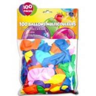 Sachet de 100 ballons couleurs assorties