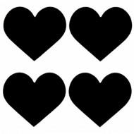 24 Etiquettes coeurs en ardoises adhésives noires 5x4.5cm