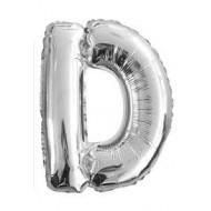 Ballon argenté lettre D, 36cm.