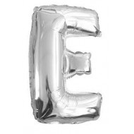 Ballon argenté lettre E, 36cm.