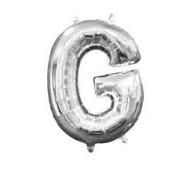 Ballon argenté lettre G, 36cm.