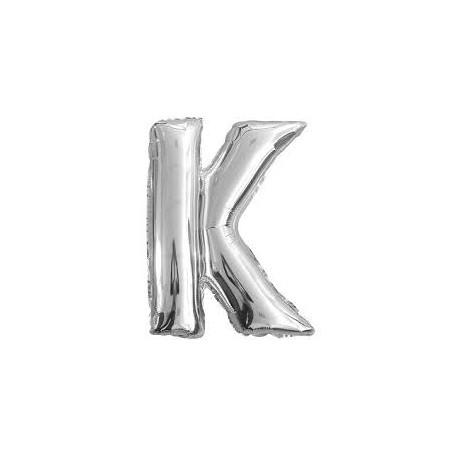 Ballon argenté lettre K , 36cm.