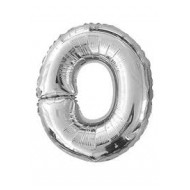 Ballon argenté lettre O , 36cm.