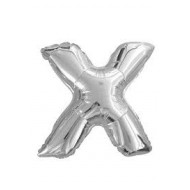 Ballon argenté lettre X, 36cm.