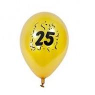 """8 Ballons imprimés """" 25 """" doré. D. 28cm"""