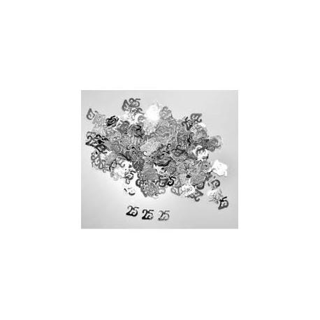 """Confettis de table nombre """"25"""" , 10gr. Argenté"""