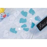 """Confettis de table """"Pied de bébé"""" blanc et bleu ciel ,10gr."""